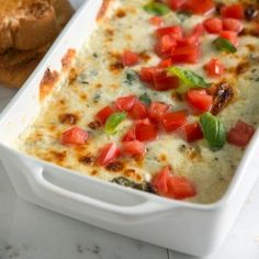 Baked Cheese Dip with Tomato and Basil