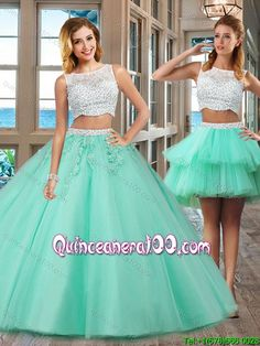 Elegant Puffy Bateau Brush Train Beading and Appliques Detachable Quinceanera Dresses in Apple Green