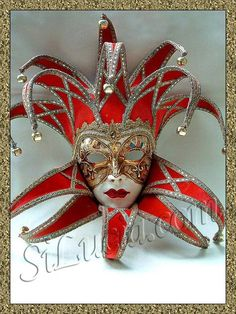 Jolly Curlie Top/Bottom Red Velvet - Handmade Venetian Masks from Venice, Italy - 1001 Venetian Masks