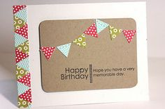 Birthday Banners Card by Heather Nichols for Papertrey Ink (May 2013)