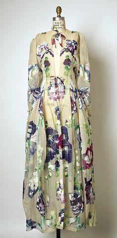 "Balenciaga, 1937, Silk Tea Gown. Worn by Mrs. Robert Lovett - her husband was one of ""The Wise Men"" of Washington, D.C."