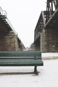 Free stock photo of cold, snow, bench, bridge
