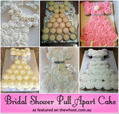 Pull Apart Cupcake Cake Dress | bridal shower pull apart cake what an amazing cake to make