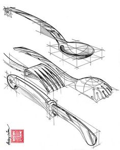 52 Ideas Design Sketch Product Perspective For 2019 Structural Drawing, Technical Drawing, Drawing Lessons, Drawing Techniques, Object Drawing, Fork Drawing, Drawing Sketches, Drawings, Affinity Photo