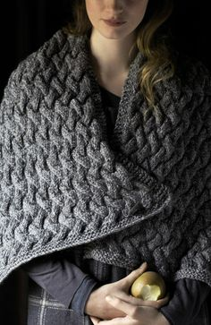 Cabled wrap in Rowan's Purelife Renew. 8-stitch cables are easy to do..