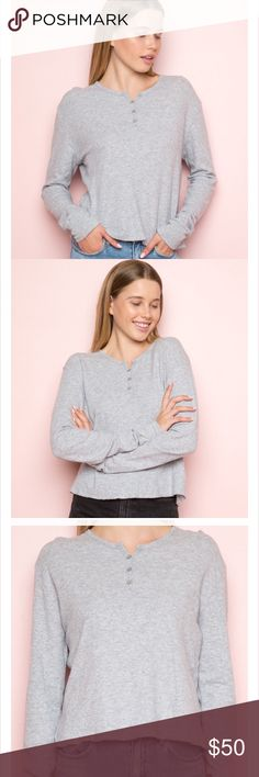 Brandy Melville Henley Sweater Extremely Soft!! Worn once in California- live in Florida love it but can't really wear it! Brandy Melville Sweaters