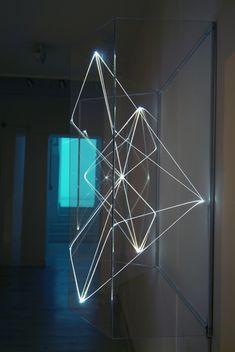 CARLO BERNARDINI, Virtual Volums 2001, Optical fibres, plexiglass, feet h 3,5x4,5x1,5