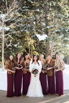 winter wedding bridesmaid dresses / http://www.deerpearlflowers.com/faux-fur-winter-wedding-ideas/