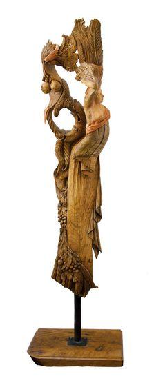 Enrica Barozzi's art - wood sculpture Cornucopia - cm 183x38