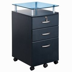 Techni Mobili Rolling Storage File Cabinet with Glass Top - Graphite - RTA-S06C-GPH06
