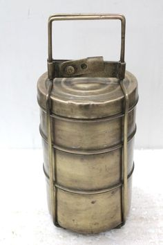 Antique Vintage Beautiful shape 3 Compartment Brass Lunch Box / Tiffin Box # 7