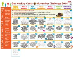 Here's the November Challenge Calendar complete with daily nutrition and fitness challenges.