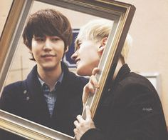 "Kyu - ""Hyung, what are you doing?""  Eunhyuk - ""Nothing, just admiring you. Please don't tell Hae."""