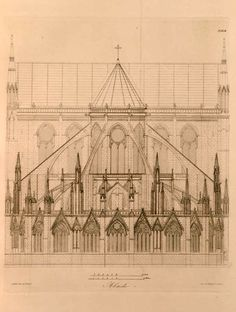 Elevation of the abside of the Cathedral of Notre Dame, Paris                                                                                                                                                                                 More