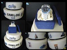 Mundo dos Relógios ** relógio moldado em pasta açucar e caixa em esferovite forrado a pasta