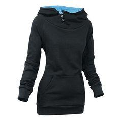 Stylish Front Pockets Solid Color Long Sleeve Women's Hoodie, BLACK, XL in Sweatshirts & Hoodies | DressLily.com