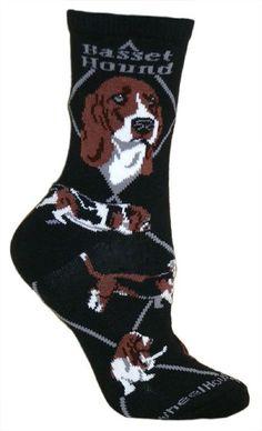 Wheel House Designs Basset Hound on Black Sock Such a Great sock! Medium and Large Sizes Corgi Socks, Women's Socks, Dog Breeds List, Basset Hound Puppy, Most Popular Dog Breeds, Tapestry Bag, Sock Animals, Black Socks, Novelty Socks