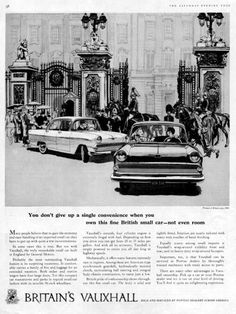 Britain's Vauxhall Ad (September, Illustrated by Allan Kass Vauxhall Motors, Automobile, Commercial Vehicle, Car Brands, Print Ads, Vintage Prints, Peugeot, Britain, The Past