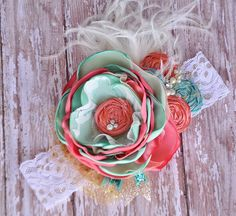Mindy boutique couture #headband - Mint , Coral & Gold - Spring - photo prop - shabby chic- Wedding accessory- Beach photos- Made by #MckenzieGraceDesigns #Etsy $27.99
