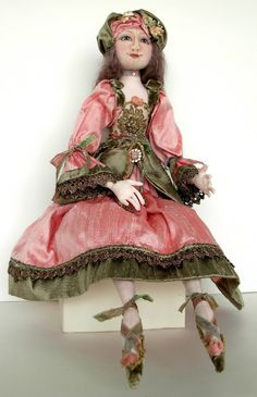 "Donna Perry OOAK cloth sculpted doll ""Rose"""