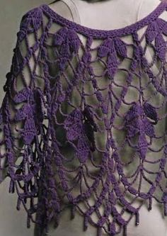 Crochet Shawls: Free Crochet Pattern of Amazing White Crochet Poncho for Evening