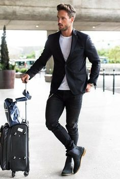 Airport Outfit Style For Men. #mens #fashion #style Women, Men and Kids Outfit Ideas on our website at 7ootd.com #ootd #7ootd