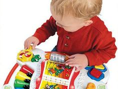 Amazon.com: LeapFrog Learn & Groove Musical Table: Toys & Games $44.99  So cute and educational, too. Lots of cute sounds that babies love, without being annoying for mommy!