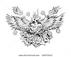 Sacred heart tattoo with wings and sparrows.
