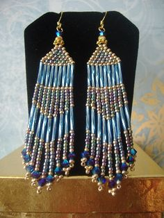 Handmade Earrings  Long Blue Multicolored Pastel