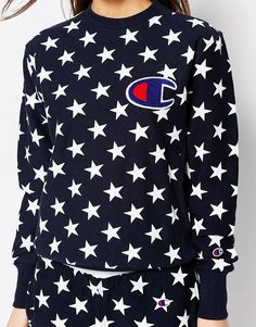 Image 3 of Champion Oversized Boyfriend Sweatshirt In All Over Star Print