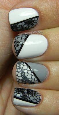 white & gray nails with black lace #whitenails #graynails #nailart