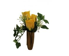 Silk or fresh flower arrangement suitable for niche or columbarium.  Roses, baby's breath, and ivy with wrapped stems.  Vase not included.  Concierge service for verified direct placement at grave-site.  Visit www.grave-flowers.com