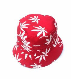 Hand Made Cannabis Leaf Bucket Hat - White on Red 50 g 35 cm x 21 cm Cotton Reversible Choice of inner fabric Lightweight Washable Hand Made Bucket Hat, Hats, Fabric, Red, Cotton, Handmade, Fashion, Tejido, Moda