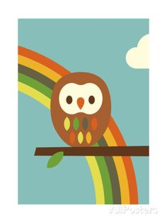 Owl and Rainbow Impression giclée