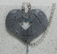Puzzle Heart Necklaces set of 3 by GirlwithaFrogTattoo on Etsy, $30.00