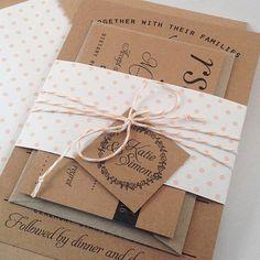 Kraft Wedding Invitation Suite - Set of 25, Kraft lined envelopes, Bakers Twine, Polka Dot Wedding Invitations