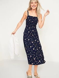 Smocked Fit & Flare Cami Midi Dress for Women | Old Navy Cami Midi Dress, Smock Dress, White Floral Dress, Floral Midi Dress, Flare Skirt, Fit Flare Dress, Midi Length Skirts, Old Navy Dresses, Women's Dresses