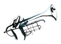 Trumpet player - Black & White ink illustration by Eri Griffin http://www.erigriffin.com/