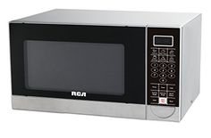 RCA 1.1 Cubic Feet Stainless Steel Microwave Oven  With a 1.1-Cubic-Foot capacity, this stainless steel RCA microwave oven allows for quick and convenient meal preparation. The unit's one-touch auto-cook menu takes the guesswork out of cooking popularly microwaved foods including popcorn, baked potatoes, pizza, beverages, and frozen dinners, while its reheat button makes it easy to warm food items back up again. The microwave's soft-touch electronic control panel also comes with cook..