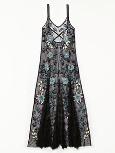 Embroidered Boquet Maxi Slip | Sheer mesh maxi slip featuring beautiful floral embroidery and strappy back. Soft pleated bottom for a voluminous skirt.
