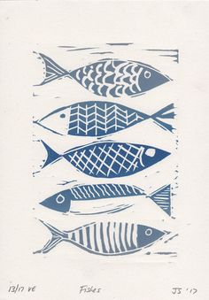 Lino print - fish print - seaside prints - linocut print - blue fish - limited edition print - linoprint - original hand pulled print This linocut print of blue fish is an original hand pulled limited edition linoprint by DESIGN SMITH. This pretty print would be ideally suited for