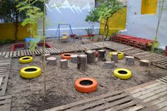 a DIY Pocket Park mabe by upcycled materials (wooden palettes, tires etc.) in Pagrati , Athens.