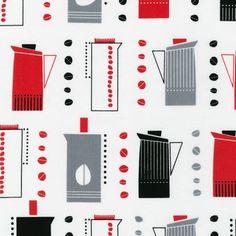 "cute ""vintage"" coffee pot fabric"