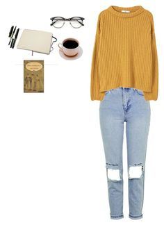 """""""coffee and books"""" by weareallmadhere-96 ❤ liked on Polyvore featuring Topshop, MANGO, Moleskine and Montblanc"""