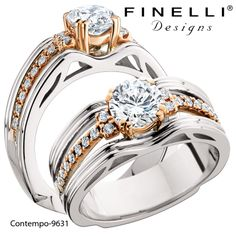 White and rose gold engagement ring. Stacked ring look and intricate gallery details and interesting shank treatment. By Finelli Designs.