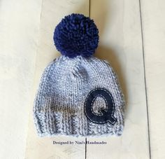 CHUNKY Knit Grey with Navy Personalized Letter and Pom Pom Hat with Initial  of your choice b13f2ade3