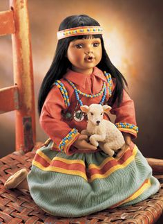 Southwest Collectible Porcelain Doll with Lamb