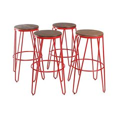 Kate and Laurel Tully Two Toned Wood and Metal Bar Stools Set of 4 Red and Wood >>> Learn more by visiting the image link.Note:It is affiliate link to Amazon. #instamood