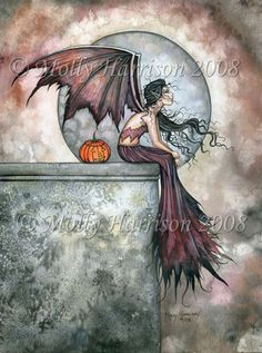 Gothic Vampire Fairy Fine Art Print 'October Dreams' Watercolor Giclee BIG 9 x 12 inches by Molly Harrison