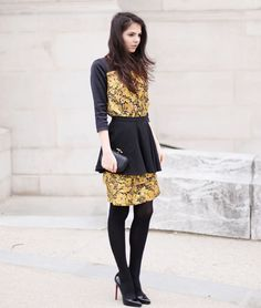 yellow dress black skirt